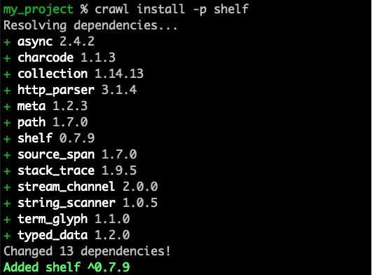 Installing shelf package with Crawl