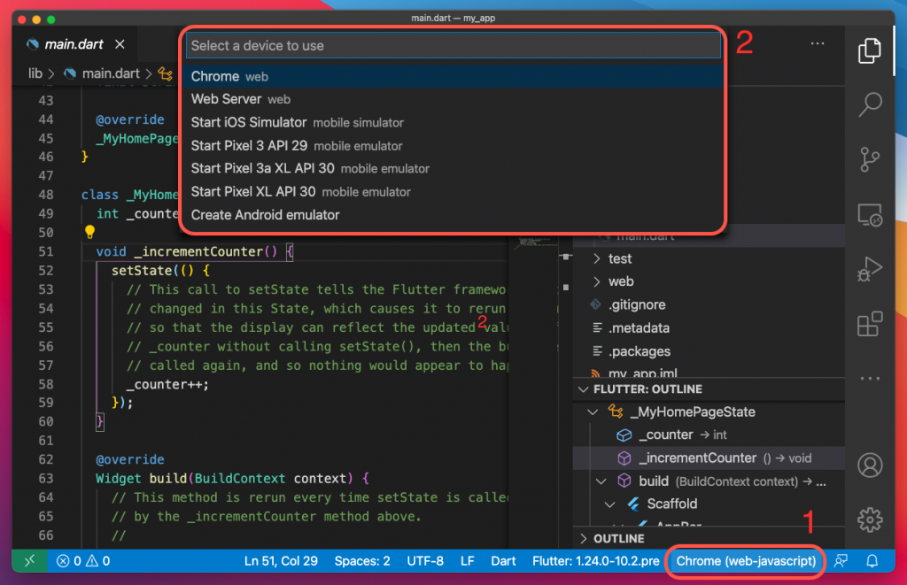 Launch simulator for Flutter project in Visual Studio Code